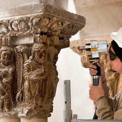 Detalle Limpieza Capitel Catedral De Tudela